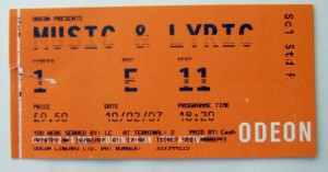 Music and Lyrics Ticket