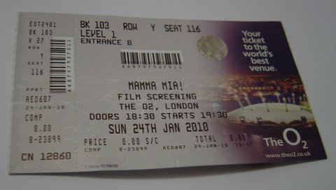 Mamma Mia! Screening Ticket